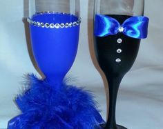 Items similar to Live in Colour - Champagne glass set of 4 - hand painted - colorful - rhinestones - glitter - perfect for big celebrations on Etsy