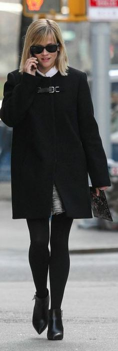 Who made  Reese Witherspoon's black buckle coat, ankle boots, and sunglasses that she wore in New York?