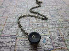The Tina Necklace Vintage Typewriter Key Necklace by SeizeTheNight, $14.00