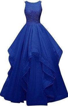 Charming Royal Blue Prom Dress,Beading Party Dress,Floor Length Layered Evening Dress