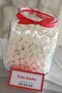 train party- train smoke marshmallows - use popcorn instead. Thomas Birthday Parties, Thomas The Train Birthday Party, Trains Birthday Party, Train Party, 3rd Birthday, Birthday Party Themes, Birthday Ideas, Pirate Party, Train
