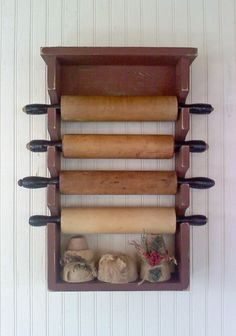 Wooden Rolling Pin Rack Primitive Country