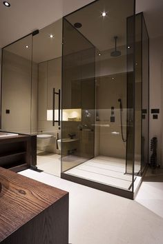 Colored glass panels   Contemporary residential interior design bathroom minimalist masculine I M Lab-The Country Home