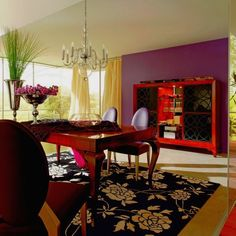 Sharp Yellow Curtains Purple Walls Dining Room Wallpaper listed in: purple Dining Room Accessories,