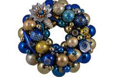 Blue & Gold Ornament Wreath