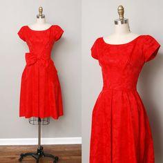 1950s Dress - Red Brocade Full Skirt Party Dress