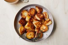 Burnished Potato Nuggets recipe | Epicurious.com Unique Potato Recipes, Scalloped Potato Recipes, Side Dishes For Ham, Side Dish Recipes, Dinner Recipes, Crispy Potatoes, Roasted Potatoes, Potato Dishes, Food Dishes