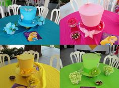 DIY Alice in Wonderland Mad Hatter Centerpieces.........mix up the colors....can't match at a mad hatter party