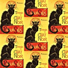 Le Chat Noir, Black Cat Poster, Yellow  fabric by bohobear on Spoonflower - custom fabric