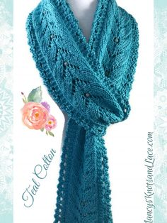 Turquoise Lace Cotton Scarf Beaded Aventurine Leaf Pattern made with Valley Yarns 3/2 cotton