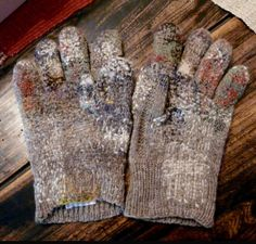 Repaired gloves | Darning | Mending | Detail | Hands | HEIMTALI school museum Estonia / Knitting wool / Pair