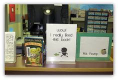 The Centered School Library: Book Talk from your Checkout Desk! School Library Decor, School Library Displays, Middle School Libraries, Elementary Library, Library Decorations, Library Lessons, Library Books, Library Inspiration, Library Ideas