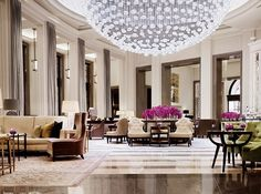 Corinthia Hotel London's Lobby Lounge with Stunning Baccarat Chandelier