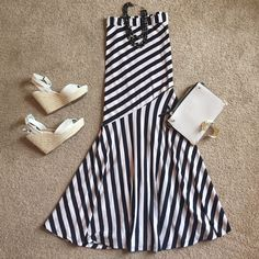 Strapless Tan And Black Stripped Dress