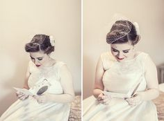 """""""I wore an ivory birdcage veil and silk flower from Lily Bella in my hair"""" From http://whimsicalwonderlandweddings.com/2012/12/a-creative-back-to-the-future-village-hall-wedding.html, http://www.lilybella.co.uk"""