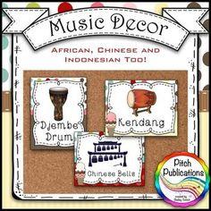 MUSIC DECOR - SWEET SHOPPE - INSTRUMENT POSTERS - ORCHESTRA, ORFF, AND WORLD! - TeachersPayTeachers.com