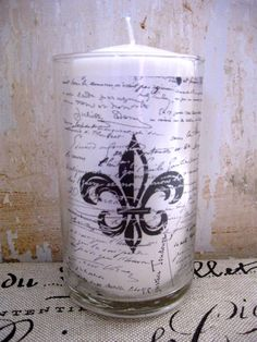French Candle Holder, Fleur de Lis, French Country  #fleur_de_lis #candle_holder