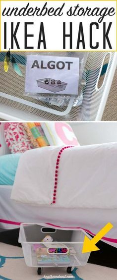 PERFECT SOLUTION! A 5-minute popular Ikea hack using a $5 Algot mesh basket to make DIY rolling underbed storage. This is SUCH A GREAT IDEA!! And NO TOOLS! I love this easy DIY organization idea!! from http://heatherednest.com