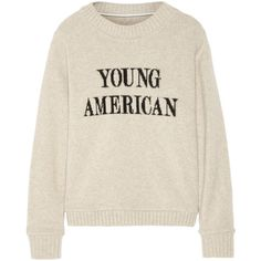 The Elder Statesman Young American intarsia cashmere sweater ($1,710) ❤ liked on Polyvore featuring tops, sweaters, shirts, sweatshirts, ecru, layered tops, pink shirts, loose tops, americana shirts and drape top