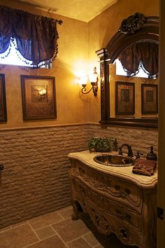 Traditional Powder Room with Geneva 8 in. Widespread Mid-Arc Bathroom Faucet in Oil-Rubbed Bronze Less Handles Tuscan Home Decorating, Powder Room Design, Bathroom Color Schemes, Spooky House, Tuscan House, Traditional Bathroom, Bath Design, Creative Home, Home Improvement