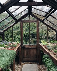 Garden Inspiration Daydreaming about being in this cute little greenhouse photographed by Happy weekend!Garden Inspiration Daydreaming about being in this cute little greenhouse photographed by Happy weekend! Backyard Greenhouse, Small Greenhouse, Greenhouse Plans, Homemade Greenhouse, Greenhouse Wedding, Portable Greenhouse, Back Gardens, Outdoor Gardens, Dream Garden