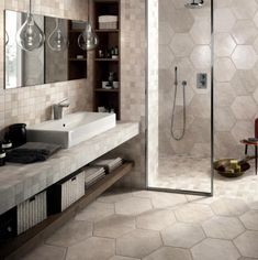 30 Bathroom Tile Ideas That Will Astonish You: Large Hexagonal Tile In Bathroom and Shower