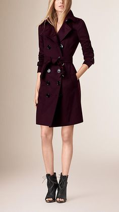 Plum Sandringham Fit Cashmere Trench Coat - Image 1