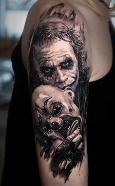 Evil Tattoos, Tattoos Arm Mann, Creepy Tattoos, Dope Tattoos, Arm Tattoos For Guys, Body Art Tattoos, Sleeve Tattoos, Tattos, Batman Tattoo
