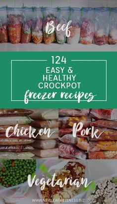 124 Easy and Healthy Crockpot Freezer Recipes - - Are you looking for new crockpot recipe inspiration? Here's a huge list of my family's favorite crockpot freezer meals. I came up with 31 chicken, beef, pork, and vegetarian recipes that we love for a…. Pork Freezer Meals, Healthy Freezer Meals, Dump Meals, Freezer Cooking, Healthy Crockpot Recipes, Freezer Recipes, Slow Cooker Recipes, Vegetarian Recipes, Crockpot Meals