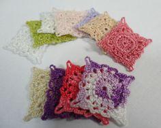 One miniature crochet square doily 1.2 cm  Miniature by MiniGio, $2.50