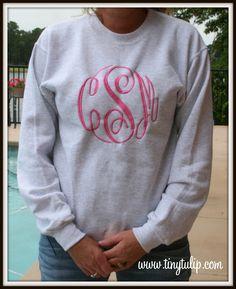 tinytulip.com - Monogrammed  Crewneck Sweatshirt- Oversized Monogram  , $38.50 (http://www.tinytulip.com/monogrammed-crewneck-sweatshirt-oversized-monogram)