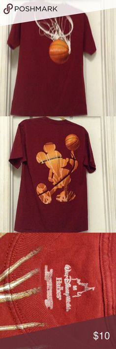 Gorgeous Walt Disney basketball Tee Shirt Wine short sleeve T-shirt Mickey and basketball motive front and back. Preshrunk 100% cotton Hanes Tops Tees - Short Sleeve
