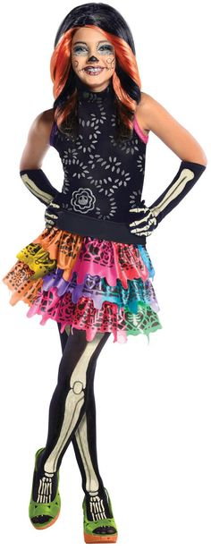 An Alluring Girl's Monster High Skelita Calaveras Costume. For your party try Monster High Costumes for Halloween at CostumePub. Fantasia Monster High, Soirée Monster High, Monster High Halloween, Festa Monster High, Monster High Makeup, Monster Girl, Costume Halloween, Halloween Costumes For Girls, Girl Costumes
