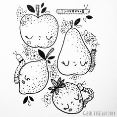Fruit With Friends. Day 90 of yearlong sketchbook project. Cassie Loizeaux