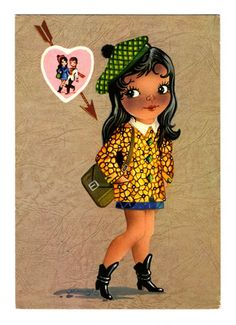 Vintage doll card from the 70's. Big eyed girl thinking about her boyfriend.
