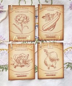 Variety of Seed Packet Hang Tags, Vintage, Seeds, Packaging, Seed Packets, Vintage Tags, Hang Tags, Seeds, Packaging, Craft Ideas, Crafty, Weddings, Unique Jewelry