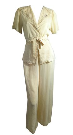 vintage Champagne Rayon Lounge Pajama Set 1940s by DorotheasCloset