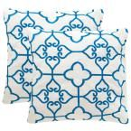 Safavieh Nadia Soleil Square Outdoor Throw Pillow (Pack of 2), Royal Blue/Ivory