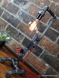 Custom Made Edison Bulb Table Lamp - Industrial Style