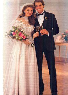 October/November 1982 Brides Magazine Cover Gown 1980s Wedding Dress, Wedding Dress With Veil, Designer Wedding Dresses, Wedding Attire, Wedding Gowns, Retro Weddings, 70s Outfits, Vintage Gowns, Wedding Vintage
