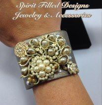 Leather Snap Cuff Crafted From Vintage Jewelry