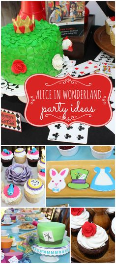 You've got to see this Alice in Wonderland party! Love the cake and decor! See more party planning ideas at CatchMyParty.com!