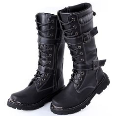 Men Black Leather Knee High Military Punk Motorcycle Combat Boots SKU-1280105