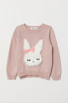 Long-sleeved, fine-knit sweater in soft cotton with a sequined motif at front. Kids Girls, Baby Kids, Baby Annabell, Kids Outfits, Cute Outfits, Mode Hijab, Girls Sweaters, Winter Dresses, Fashion Kids