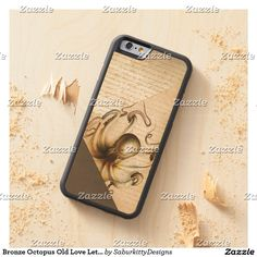 Bronze Octopus Old Love Letters Brown Velvet Look Carved® Maple iPhone 6 Bumper Case