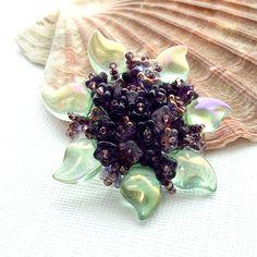 Flower brooch beaded brooch glass flower brooch by jinjajewellery