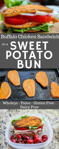 Paleo & Whole30 buffalo chicken sandwich and paleo ranch on sweet potato buns! via @Ally's Cooking