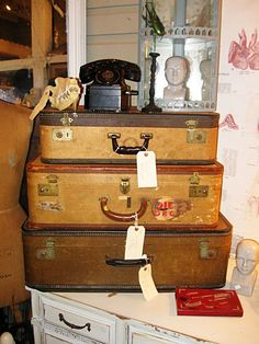Suitcases...so fun for storage and easy on the eyes, too!
