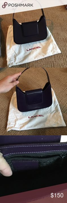 • LANCEL • Vintage purple leather shoulder purse LANCEL deep purple shoulder small purse (Iconic French brand). Comes with dust bag. LANCEL Bags Mini Bags