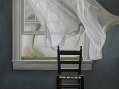 Turbulence by Karen Hollingsworth. The tonal range and starkness of the piece is reminiscent of Andrew Wyeth. The lone chair, spectral-like curtains, and pallid color scheme  reinforce the idea of the tornado's unfeeling destruction, that death approaches on a terrible wind.